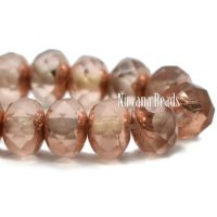 3x5mm Rondelle Peach with a Copper Finish