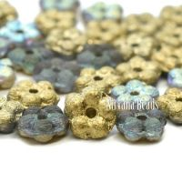 5mm Forget-Me-Not Spacers Transparent Glass with An Etched Finish with a Gold Luster