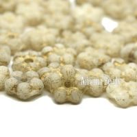 5mm Forget-Me-Not Spacers Ivory with An Etched Finish and Gold Wash