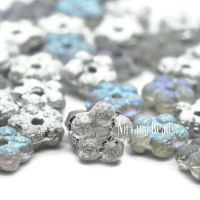 5mm Forget-Me-Not Spacers Grey with a Silver Rainbow and Etched Finish