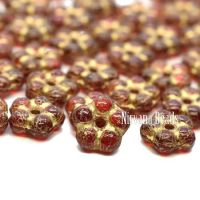 5mm Forget-Me-Not Spacers Ruby Red with a Gold Wash