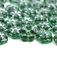 5mm Forget-Me-Not Spacers Emerald Green with a Silver Wash