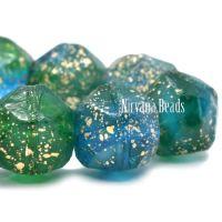 10mm English Cut Malibu Blue and Emerald with a Gold Finish
