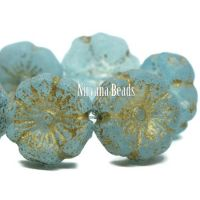 12mm Hibiscus Flower Baby Blue with An Etched Finish and a Gold Wash