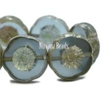 12mm Hibiscus Flower Slate Blue with An AB and Antique Silver Finish