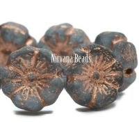 12mm Hibiscus Flower Grey with An Etched Finish and a Copper Wash