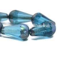 8x15mm Faceted Dangle Drop Sky Blue with An AB Finish