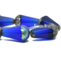 8x15mm Faceted Dangle Drop Sapphire with Mercury and AB Finishes