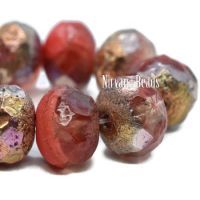 6x8mm Rondelle Ladybug Red and Transparent Glass with Copper Rainbow and Etched Finishes