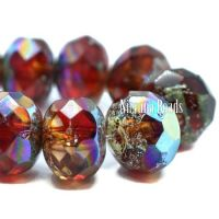 6x8mm Rondelle Ruby Red and Amber with An AB and Antique Silver Finish