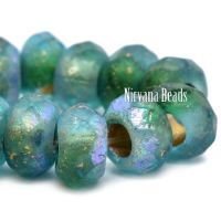 9x6mm Large Hole Roller Bead Green and Sky Blue with a Gold Wash and AB and Etched Finishes