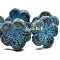 21mm Hibiscus Flower Black with Etched, Picasso, and a Turquoise Wash.