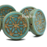 18mm Flower Of Life Coin Tea Green with Picasso and Bronze Finishes