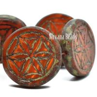 18mm Flower Of Life Coin Ruby Red and Ladybug Red with a Picasso Finish