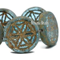 18mm Flower Of Life Coin Sky Blue with a Picasso Finish and a Bronze Wash