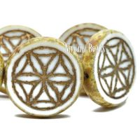 18mm Flower Of Life Coin White with a Picasso Finish and a Bronze Wash