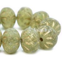 7x10mm Cruller Peridot with Picasso and Etched Finishes with a Gold Wash