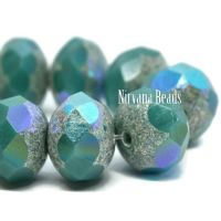6x8mm Rondelle Sea Green with Antique Silver and AB Finishes