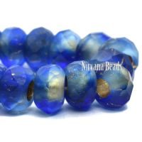 6x9mm Large Hole Roller Bead Sapphire with a Matte Finish and a Gold Lining