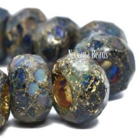 8x12mm Large Hole Roller Bead Sapphire, Sea Green, and Sky Blue with a Picasso, Etched, and a Gold Wash.