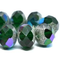 6x8mm Rondelle Emerald with Antique Silver and AB Finishes