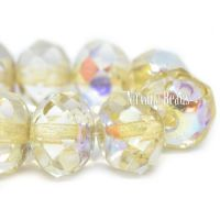 6x8mm Rondelle Pale Yellow with An Antique Silver and AB Finish