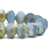 3x5mm Rondelle Cornflower with a Gold Luster and An Etched Finish