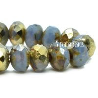 3x5mm Rondelle Cornflower with a Picasso and Gold Finish