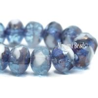 3x5mm Rondelle Sky Blue and White with a Bronze Finish