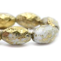 8x12mm Faceted Oval White with Etched and Gold Finishes