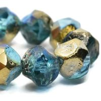 9mm Baroque Beads Sky Blue with an Etched and Gold Luster
