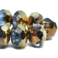 6x8mm Rondelle Pale Blue with a Bronze and Gold Finish