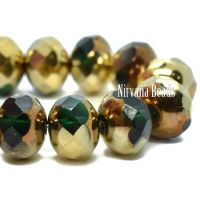 7x5mm Rondelle Emerald with Bronze An Gold Finishes