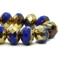 7x5mm Rondelle Indigo with Bronze and Gold Finishes
