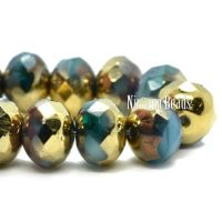 7x5mm Rondelle Sky Blue and Emerald with a Gold and Bronze Finish