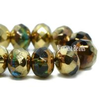 7x5mm Rondelle Teal, Emerald, and Yellow with Bronze and Gold Finishes