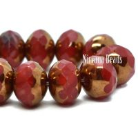 7x5mm Rondelle Ruby Red and White with a Bronze Finish