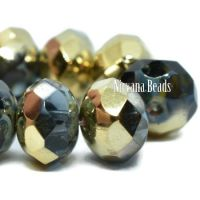 8x6mm Rondelle Slate Blue with a Picasso and Gold Finish