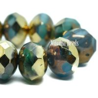 8x6mm Rondelle Medium Sky Blue, Teal, and Emerald with a Bronze and Gold Finish