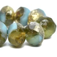 8x6mm Rondelle Sky Blue and Honey with and Etched and Gold Finish