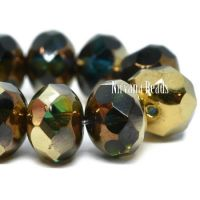 8x6mm Rondelle Teal, Emerald, and Yellow with Bronze and Gold Finishes