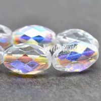 12x8mm Faceted Oval Transparent Glass with An AB Finish