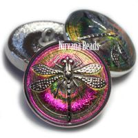 22mm Dragonfly Button Vitrail Finish with Silver Dragonfly