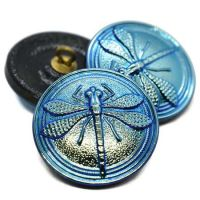 22mm Dragonfly Button Medium Sky Blue with AB Finish