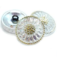 18mm Daisy Button Transparent Glass with AB Finish