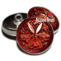 18mm Star Button Ruby Red and Copper