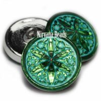 18mm Star Flower Button Kelly Green with Turquoise Wash