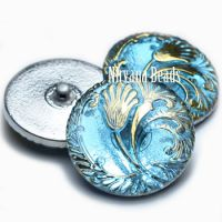 27mm Tulip Button Sky Blue with Gold