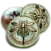 18mm Dragonfly Button Honeydew with AB Finish