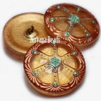 27mm Wheel Button Gold with Copper and Tea Green